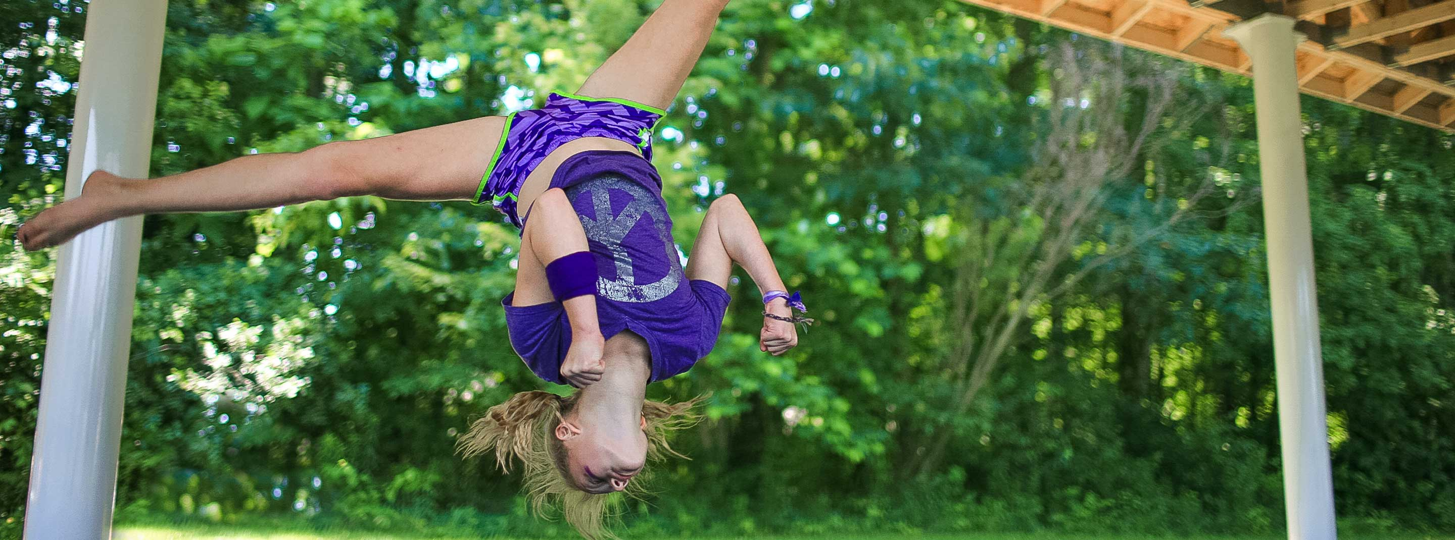 Girl doing a gymnastics trick